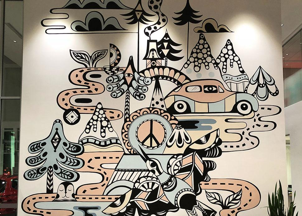 Ola Volo Mural at OpenRoad VW